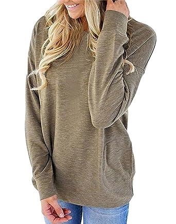 ee5e9904de8 Camisunny Women Long Sleeve Pullover Tunic Tops Fall Winter Shirts Blouse  Plain Casual Loose Khaki Solid