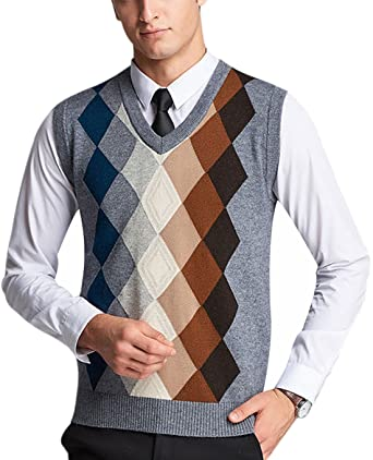 Yeokou Mens V Neck Wool Cashmere Sleeveless Button Down Sweater Vest