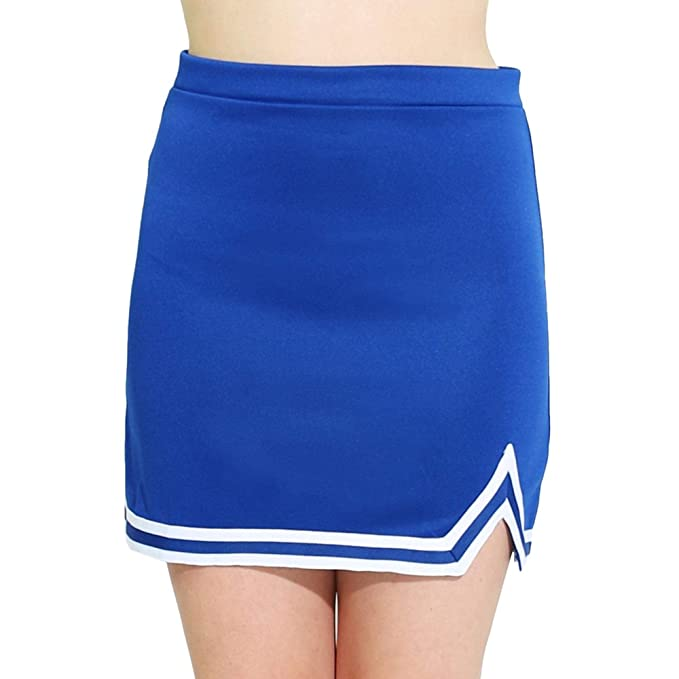 ddcf177631 Danzcue Womens Double V A-Line Cheer Uniform Skirt, Royal/White, Large