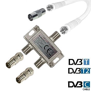 tronicxl IEC distribuidor distribuidor de antena TV Cable adaptador Cable Televisión 2 compartimento DVBC ZB coaxiales