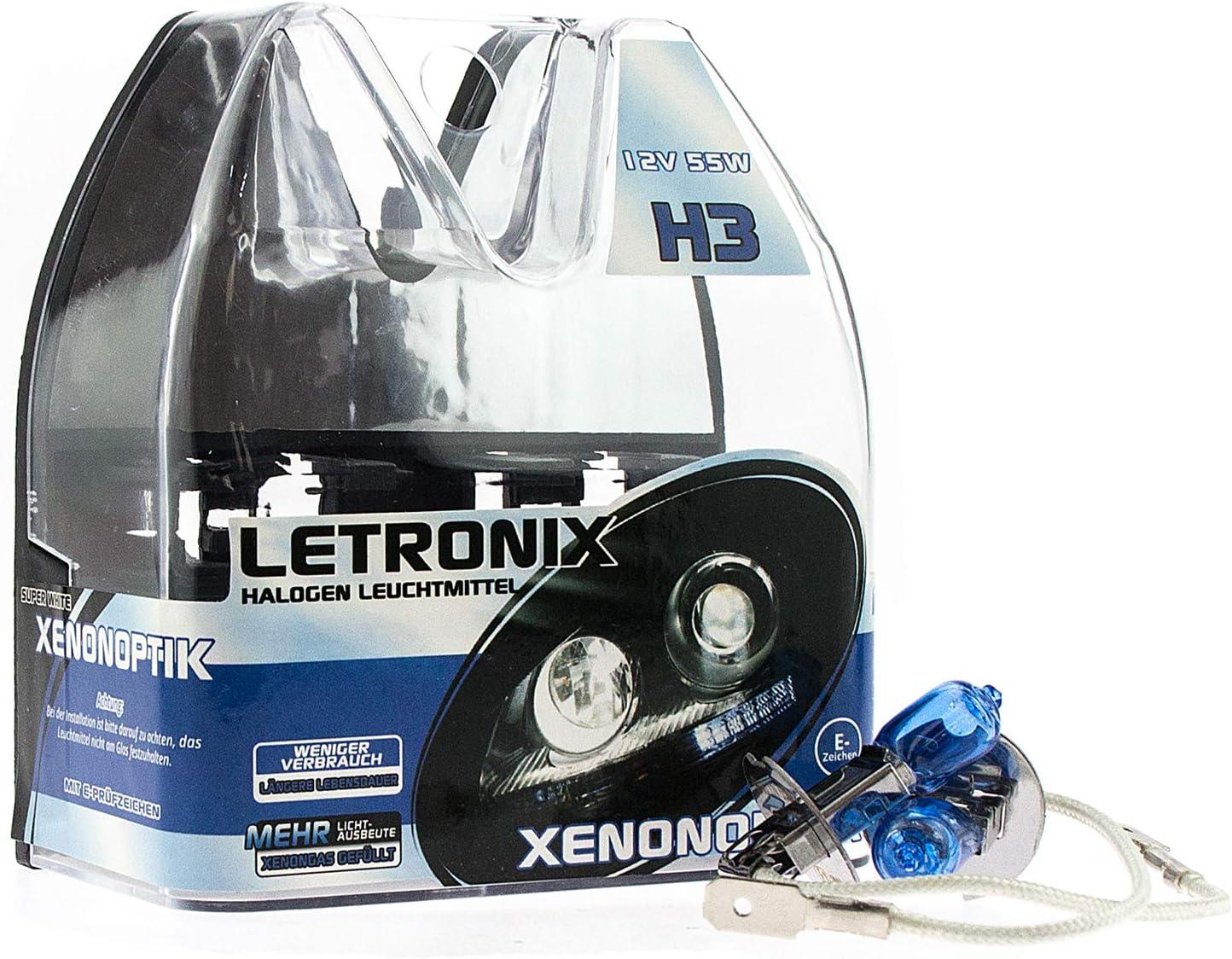 Letronix Halogen Auto Lampen H3 12v 8500k Kalt Weiß Xenon Optik Gas Ultra White Look Birnen Lampe Abblendlicht Nebelscheinwerfer Fernlicht Kurvenlicht Zulassung E Prüfzeichen Led Optik H3 55w Auto