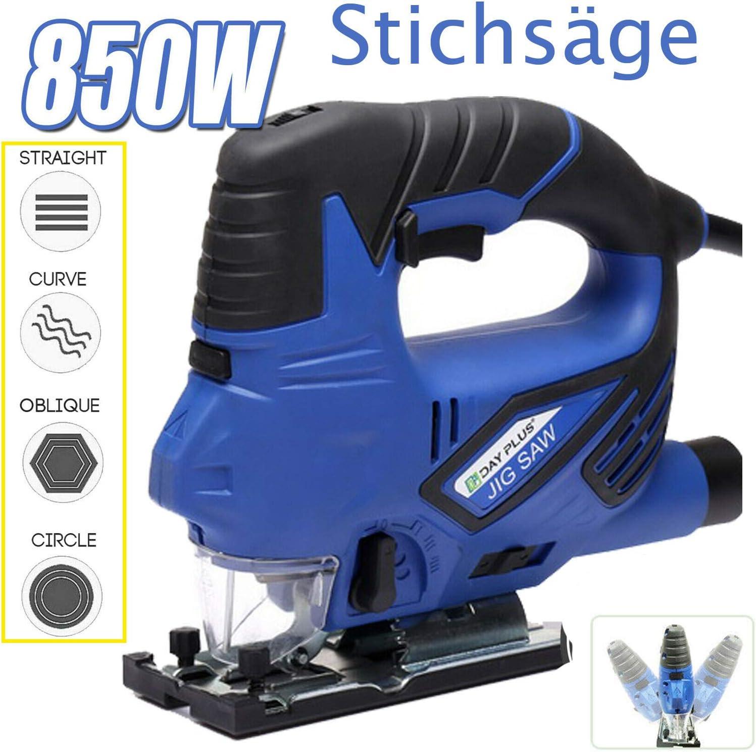 Elektro Stichs/äge mit Laser /& LED 850W Multifunktionsschneider mit neigbarem S/ägeschuh /& 3-stufigem Pendelhub 6 Variable Geschwindigkeiten 4-Stufen-Pendelung Werkzeugloser S/ägeblattwechsel