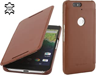 StilGut Book Type Case Senza Clip, Custodia di Pelle con Funzione On/off per Google Nexus 6P, Cognac