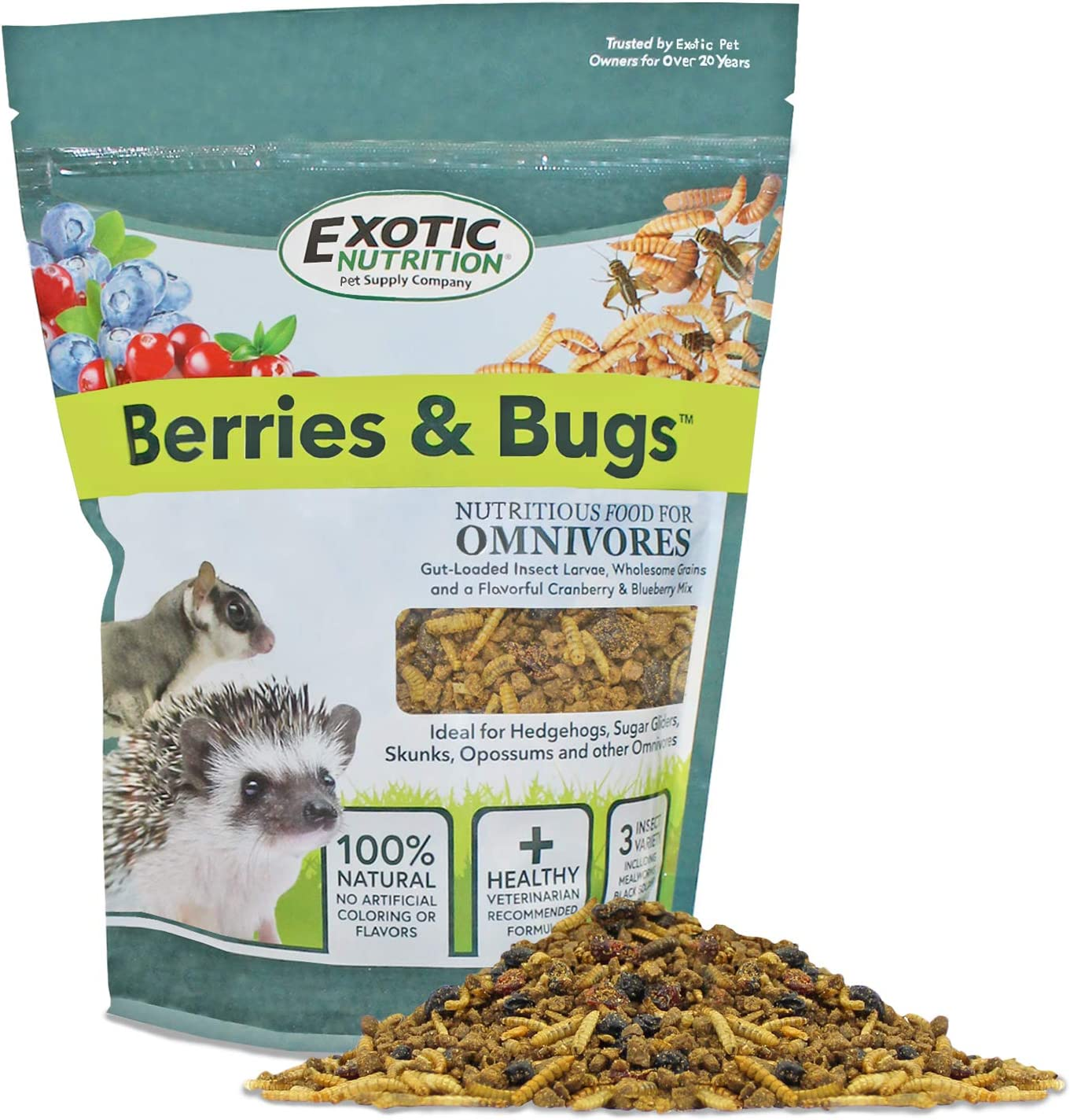 Exotic Nutrition Berries & Bugs - All Natural High Protein High Fiber Food for Hedgehogs, Skunks, Opossums, Sugar Gliders - Universal Insectivore Diet with Fruit, Gut-Loaded Insects, Healthy Vitamins
