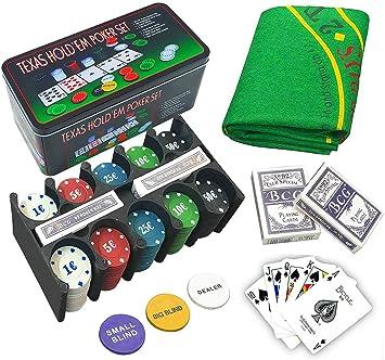 Comprar juego de mesa: LEYENDAS CROWN Set de póker Caja de Metal, 200 fichas de póker, 2 Cubiertas, botón de repartidor, ciega pequeña, Gran ciega, tapete de Juego (B)