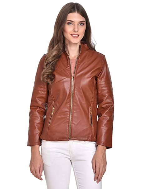 54a9ca49ac19 Rafflesia Tolpis Women Imported Leather Jacket (Brown X-Large ...