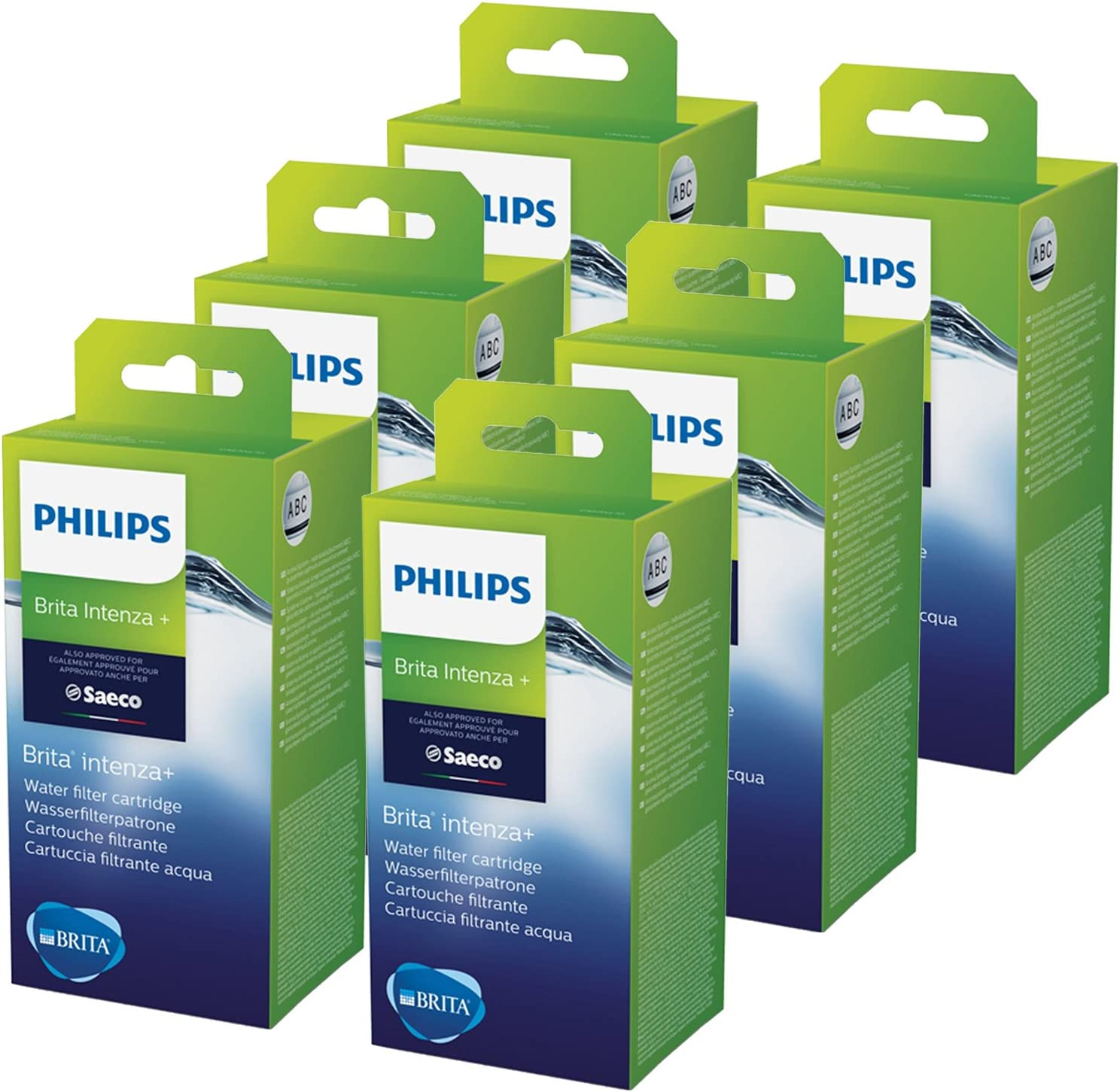 Lot de 6 Cartouche filtrante pour Technologie BRITA Water Saeco Intenza