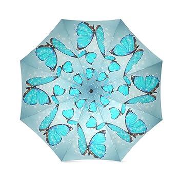 Coolstuffs Blue Butterflies Foldable Umbrella Travel Umbrellas for Women
