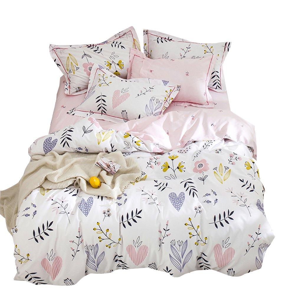 ORoa Soft Cotton Cartoon Pink Floral Duvet Cover Full Queen Girls Kids Toddler Women Reversible Plant Flower Print Teen Bedding Sets Full Size