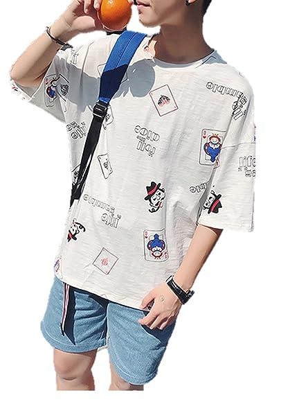 Amazon メンズ tシャツ 半袖 ポップ 落書き イラスト 全面 ユニーク