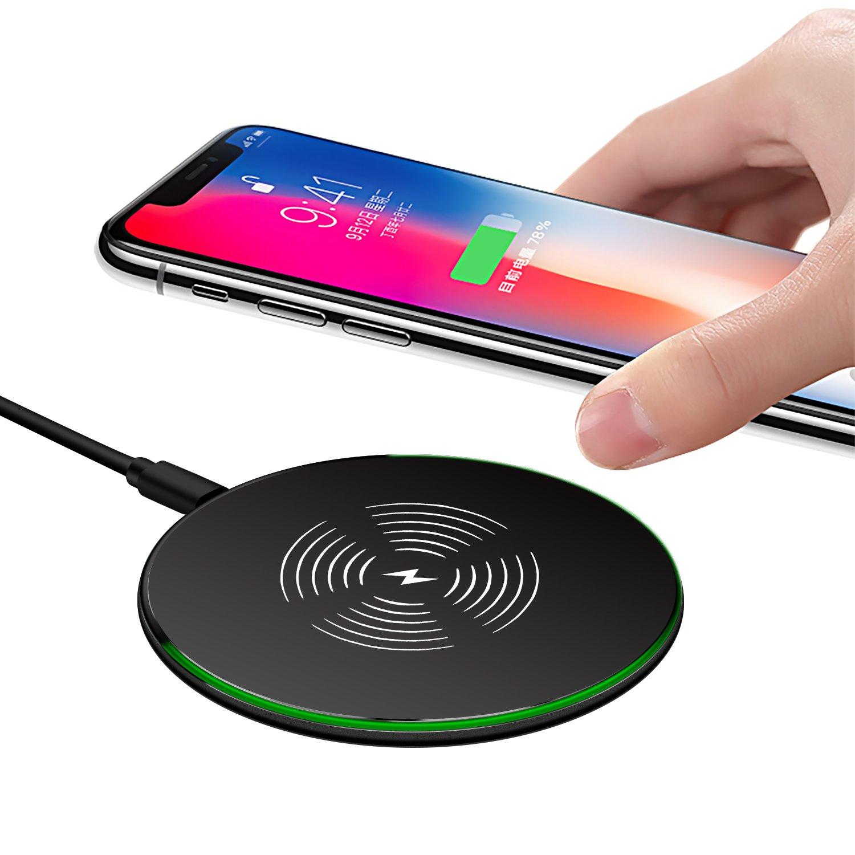 Wireless Charger ,wellead 10W Fast Wireless Charger Drahtlose Induktive für iPhone X, iPhone 8/8 Plus, Samsung Galaxy S8/S8 Plus, Note 8, S7/S7 Edge und alle Qi-fähige Geräte(schwarz) product image