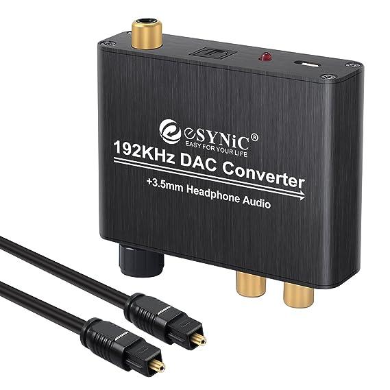 eSynic DAC de Audio Convertidor de Digital a Analš®gico con Cable Coaxial/š®ptica a RCA Toslink y SPDIF L/R Transformador de HDMI Audio para PS3 4 Xbox ...