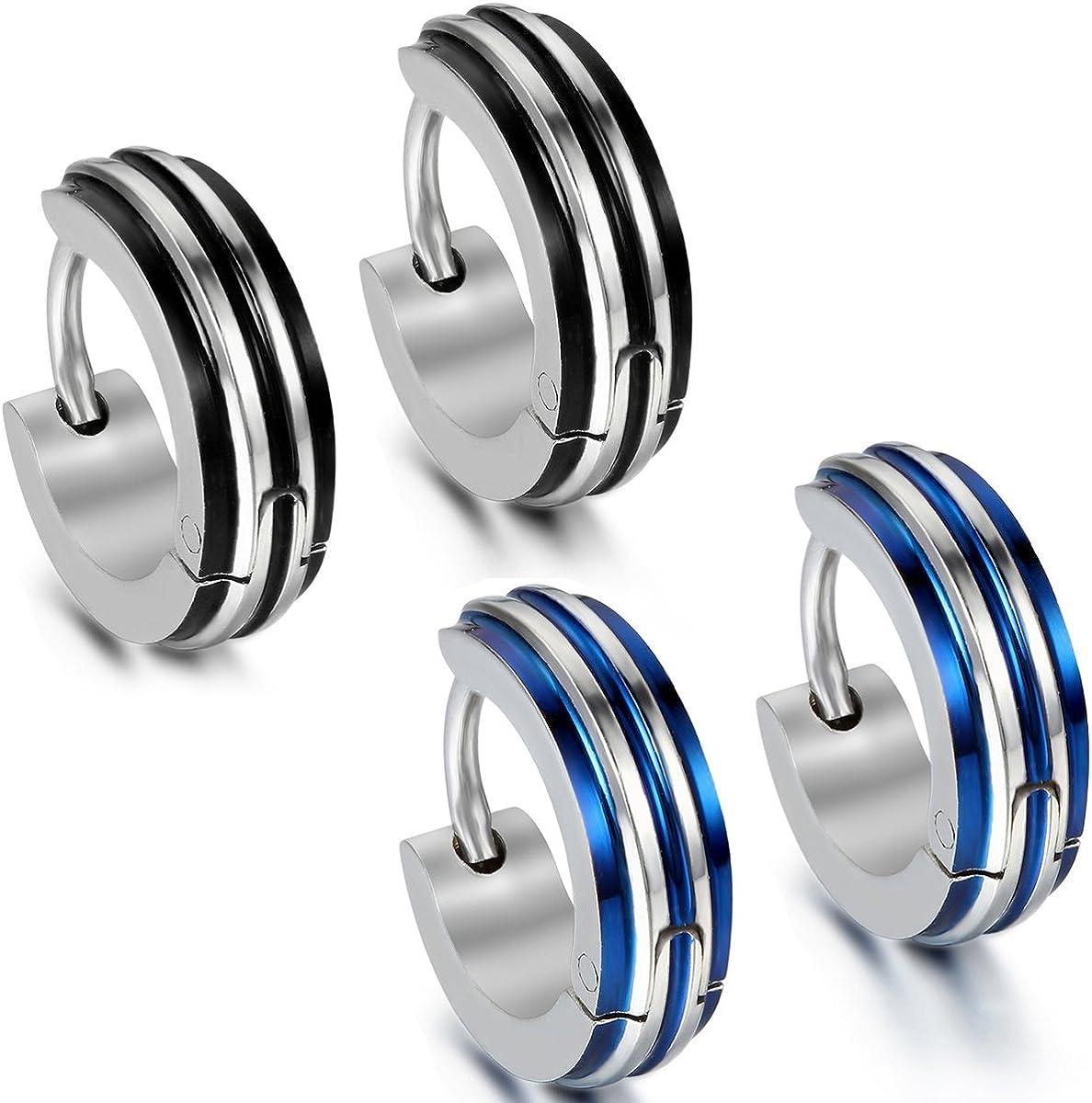 Color azul Oidea Acero inoxidable negro y plateado Con bolsa de regalo 2 pares de pendientes para hombre Cl/ásicos anillos con bisagra para hombre