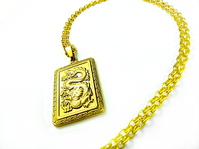 Amazoncom Gold Dragon Pendant Mens Gold Necklace Gold Chain