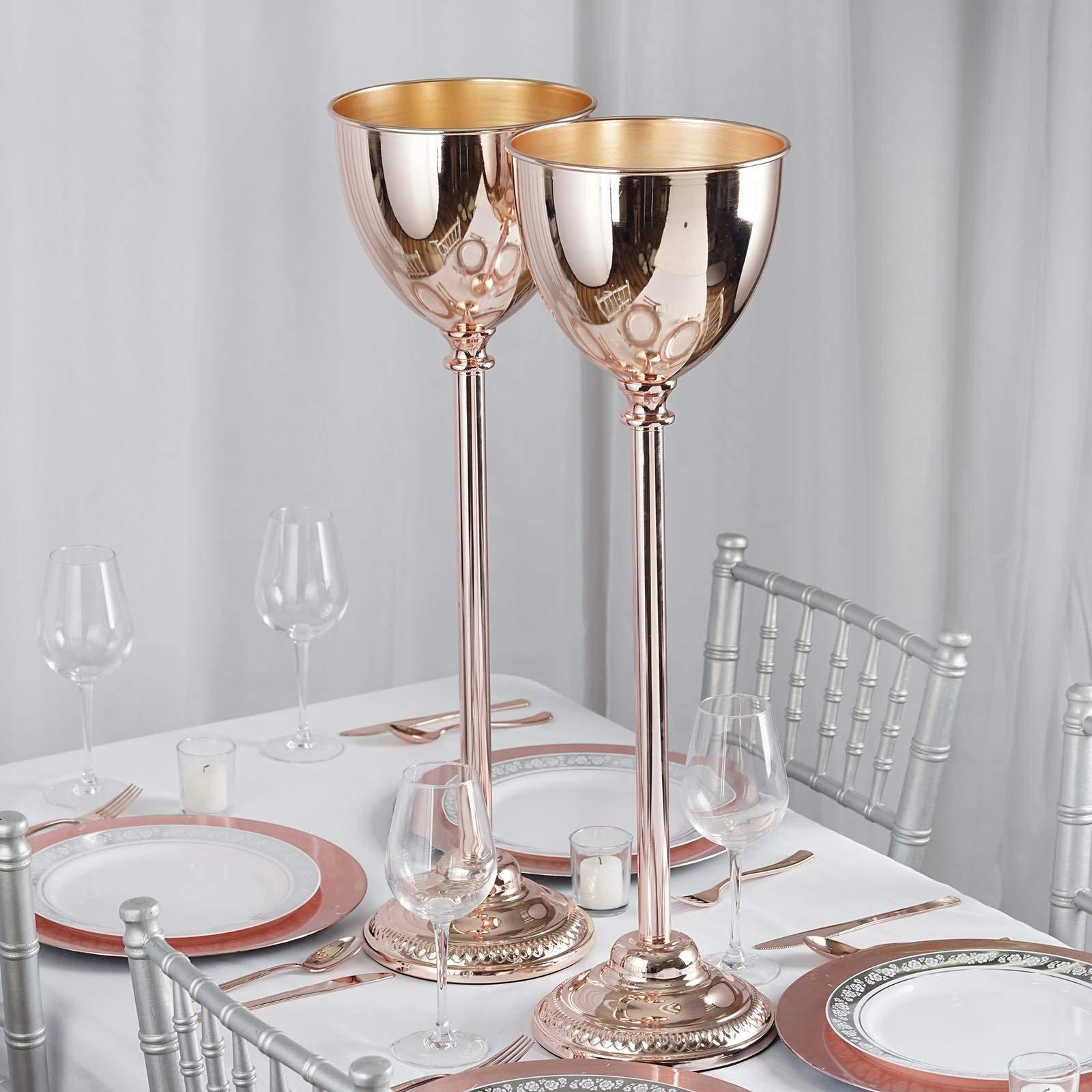 Efavormart 2 Sets 30'' Tall Rose Gold Metallic Floral Vase W/Candle Holder Wedding Centerpiece Stand