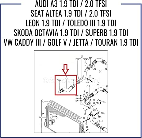 1j0145838af Turbo tubo dell/'aria di tubo per Audi VW Skoda Octavia