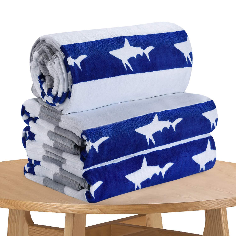 Quick Dry Fun USA Cotton Oversized Beach Towel - Print Sandproof Striped 32 x 64inch Pool Towel, Big Gray Extra Large Summer Kids Cabana Swim Towel (3 Pack)