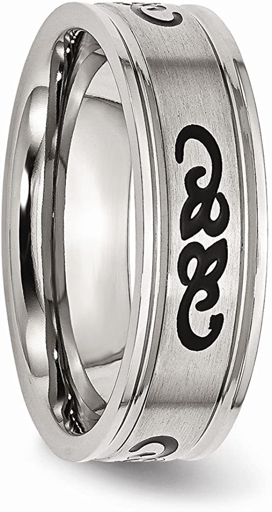 Wedding Bands Other Themed Bands Stainless Steel Black Rubber 7mm Ridged Edge Brushed Band Size 7
