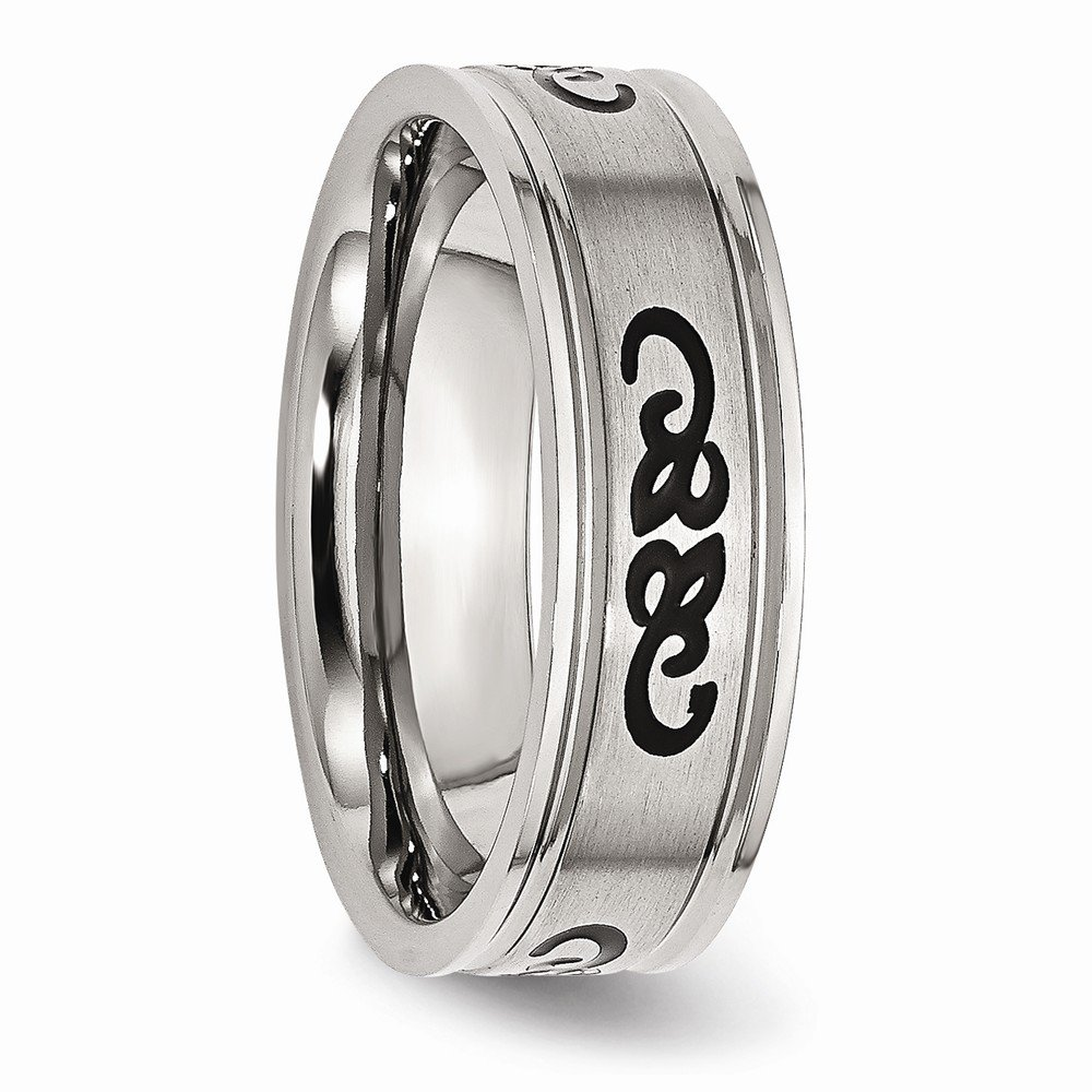 Wedding Bands Other Themed Bands Stainless Steel Black Rubber 7mm Ridged Edge Brushed Band Size 8