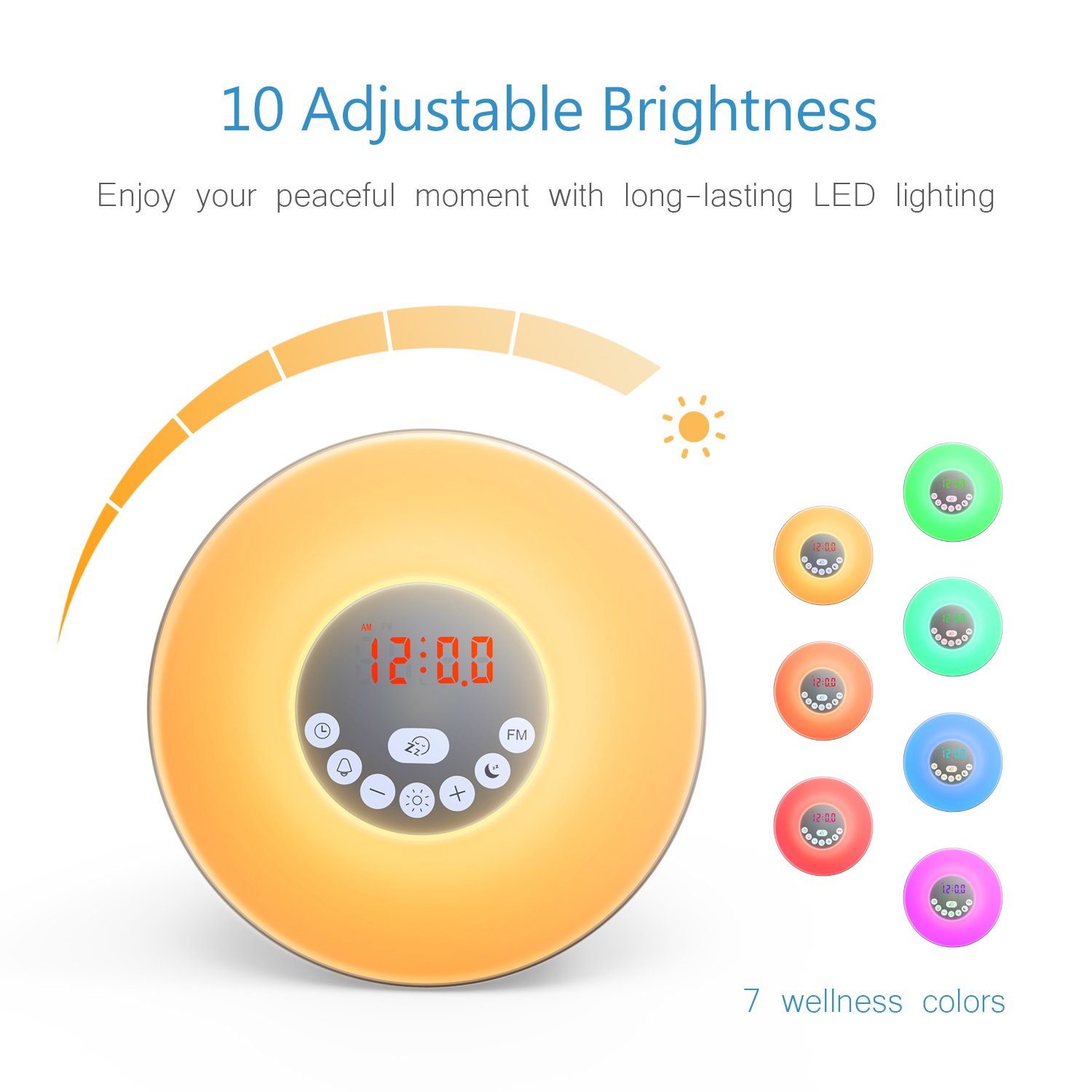 Sunrise Alarm Clock, Digital LED Wake Up Light Clock by Vodool - 7 Color Switchs 10 Brightness Levels and FM Radio, Multiple 6 Nature Sounds sunrise Sunset Simulation for Bedrooms and Heavy Sleepers