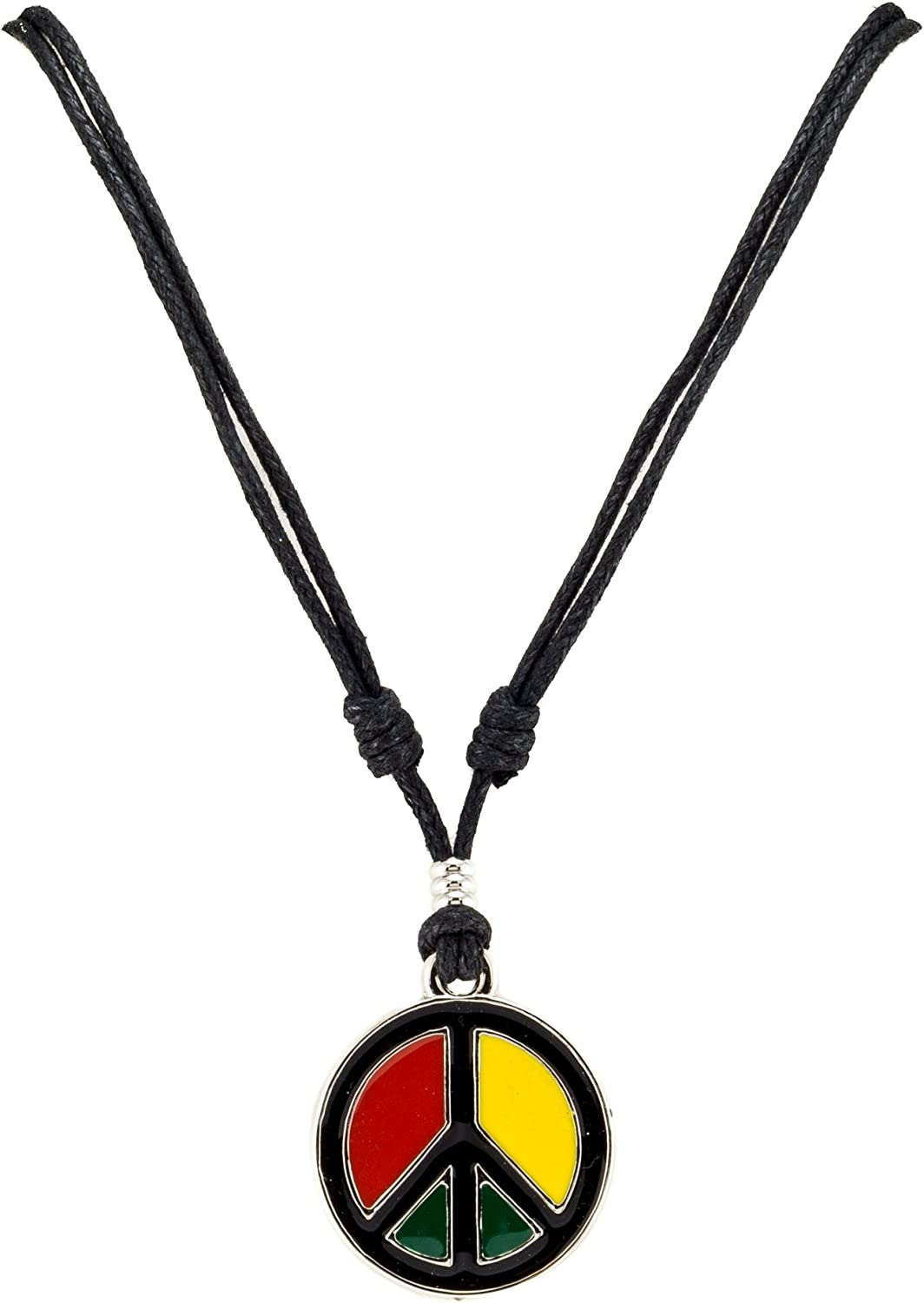 BlueRica Rasta Peace Pendant on Adjustable Black Rope Cord Necklace