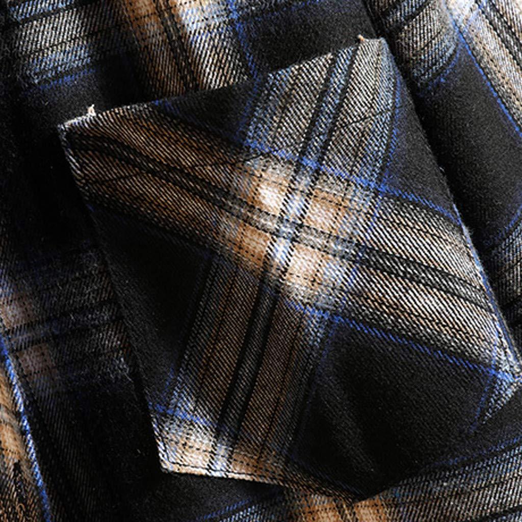Plaid Shirt for Men,Kauneus Mens Casual Button Down Shirts Long-Sleeve Regular-Fit Spliced Color Plaid Flannel Shirt M-5XL