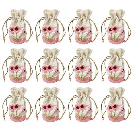 12 Bolsa Regalo Bautizo niña,Color Rosa,Arpillera-Lino Flores