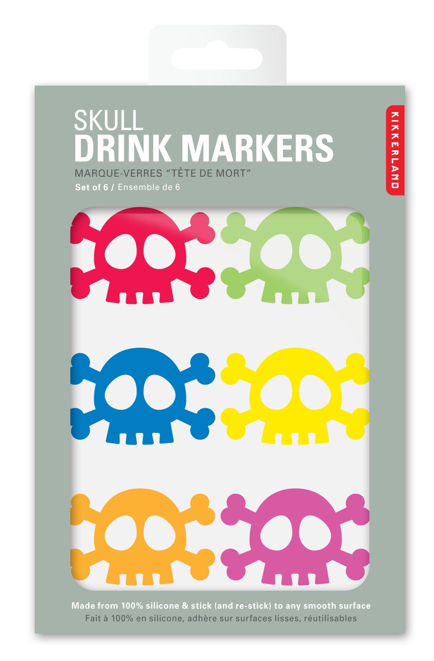 Kikkerland Skull Silicone Drink Markers, Set of 6