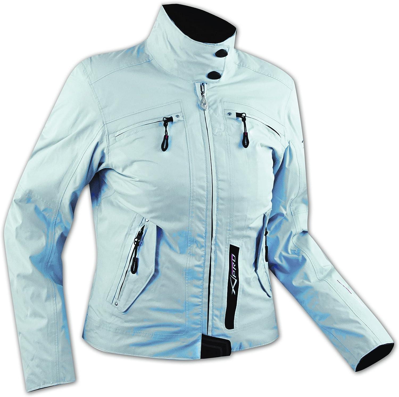 A-Pro DamenTextil Wasserdicht CE Ruestung Thermofutter Jacke Motorrad Roller Grau L