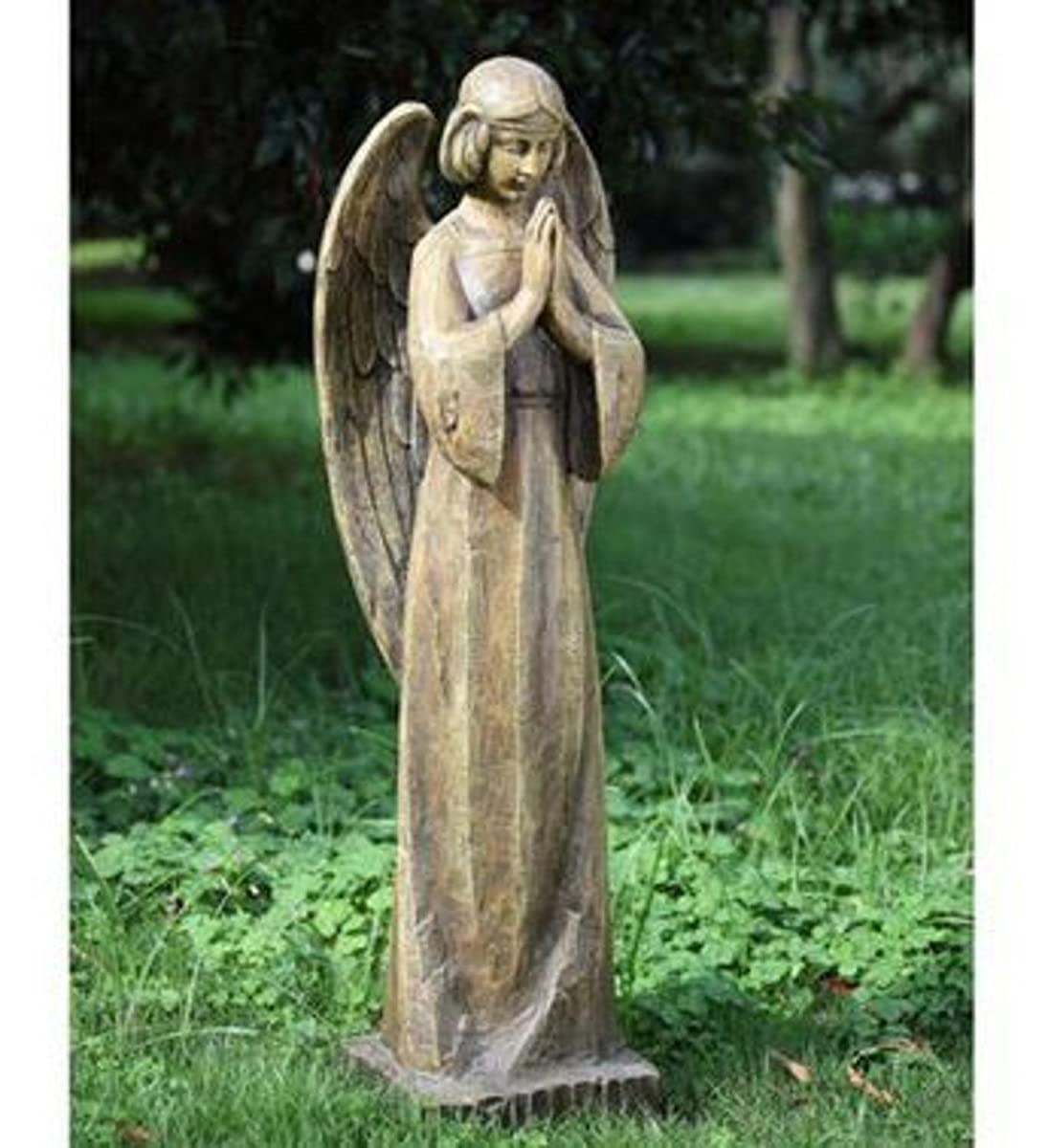 """34.5"""" Wood Carved Religious Praying Angel Outdoor Patio Garden Statue"""