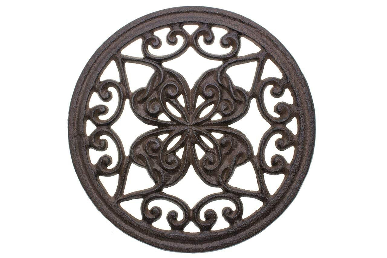 Cast Iron Round Trivet with Vintage Pattern - Decorative Cast Iron Trivet For Rustic Kitchen Or Dining Table - 7'' Diameter - With Rubber Pegs - Rustic Decor by Comfify by Comfify (Image #1)