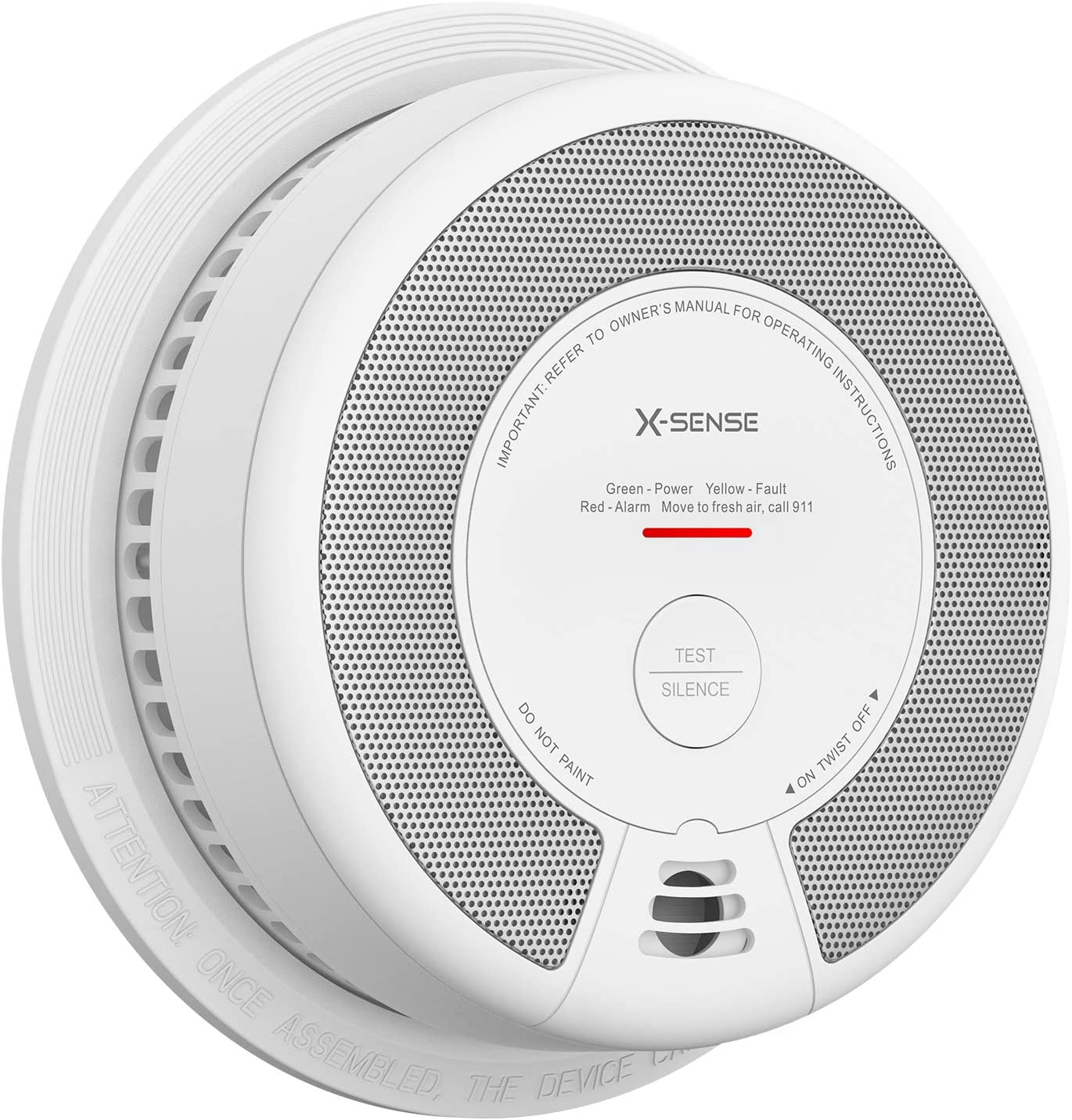 X-Sense Smoke Detector Alarm, 10-Year Battery-Operated Smoke and Fire Alarm with Photoelectric Sensor and Silence Button, Compliant with UL 217 Standard, SD06