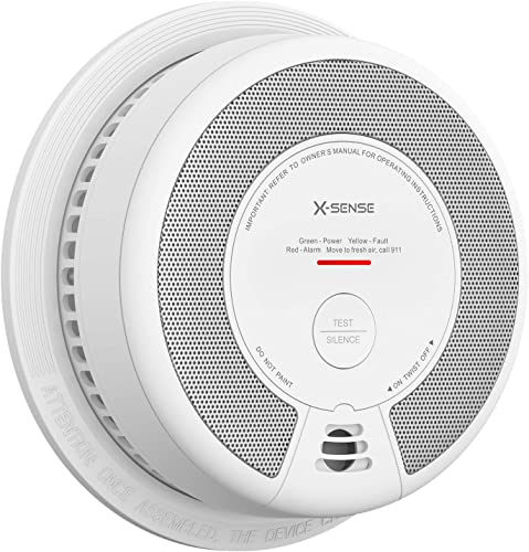 X-Sense Smoke Detector Alarm, 10-Year Battery-Operated Smoke and Fire Alarm with Photoelectric Sensor and Silence Button, SD06