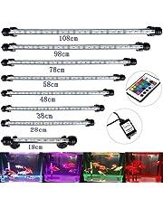 DOCEAN - Iluminación LED para acuario, 38 cm, 16 colores, control RGB, lámpara para peces, tanque, enchufe UE, resistente al agua