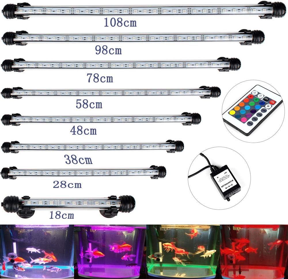 DOCEAN SMD 5050 9LEDs Illuminazione per Acquario LED Lampada Acquario Luci dell'acquario Aquarium Lighting Luce Impermeabile IP68 per Acquario, RGB, 18cm