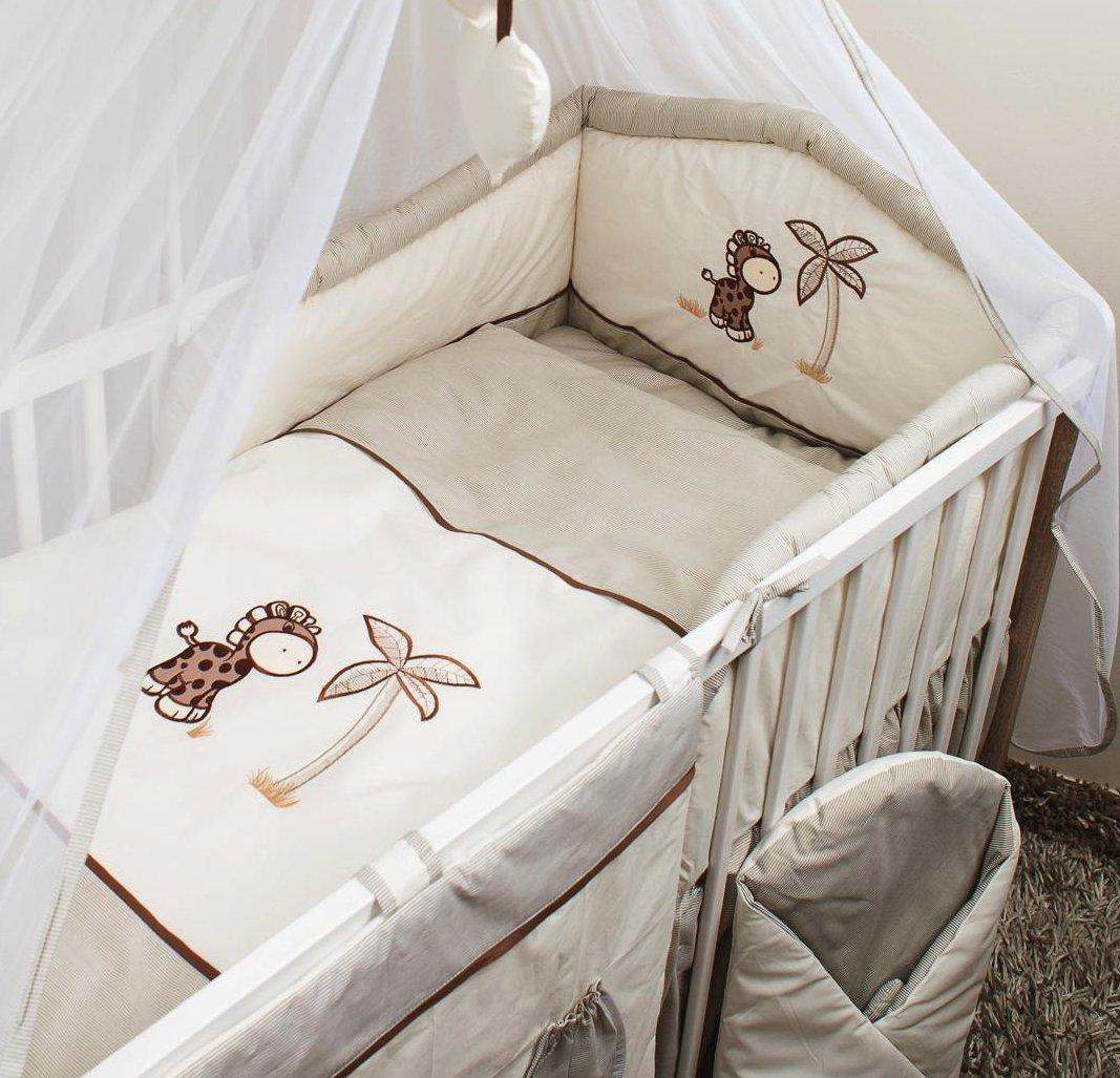 Luxury 5 Piece Embroidery Cot Bed 140x70 cm Baby Bedding Bumper Set - Giraffe BabyBootik