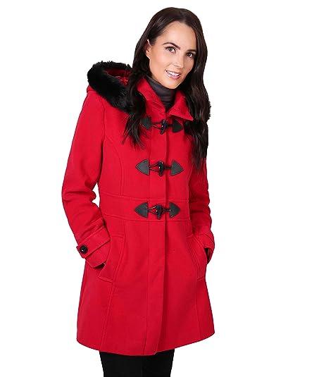 Amazon.com: KRISP Womens Winter Faux Fur Hooded Toggle Duffle Pea ...