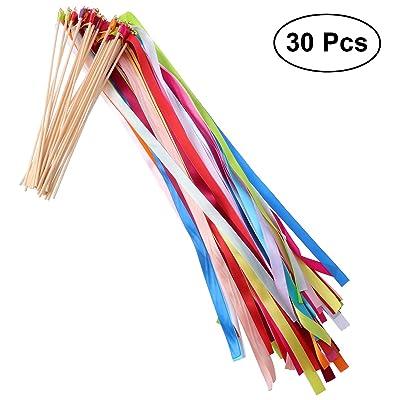 ULTNICE 30pcs bâtons de ruban de bâton de serpentin souhaitent baguettes avec la cloche pour la célébration de fête de vacances de mariage