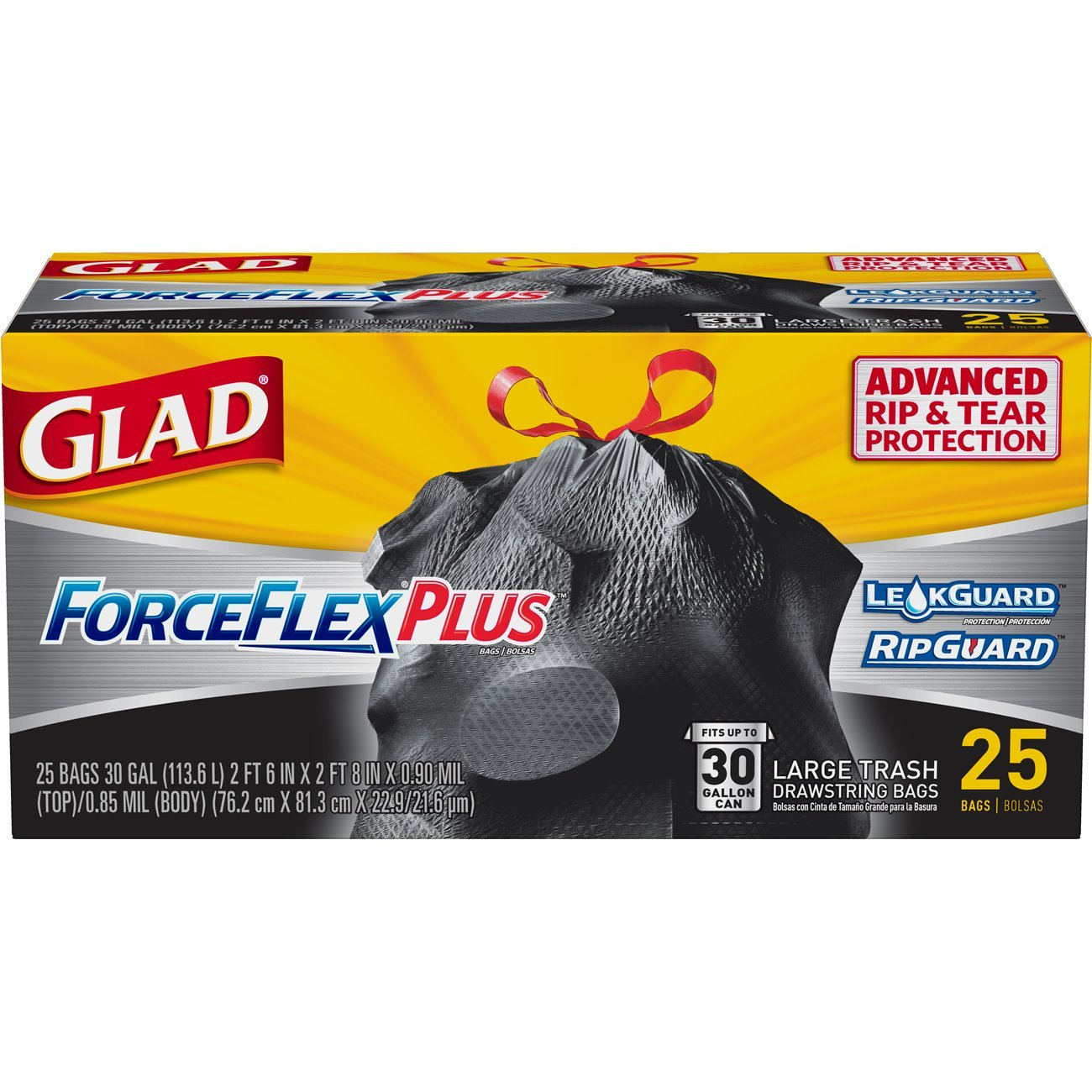 Amazon.com: Glad Large Drawstring Trash Bags – ForceFlexPlus 30 Gallon Black Trash Bag - 25 Count: Prime Pantry
