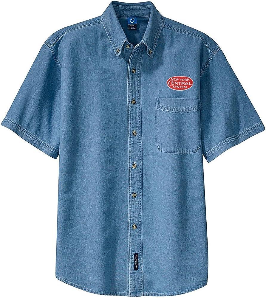 NYC Red Logo Short Sleeve Shirt Khaki Adult 4XL den29RedSS