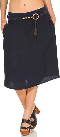 Malito Mujer Lino Falda Verano Colores Lisos 8692 (Azul Oscuro ...
