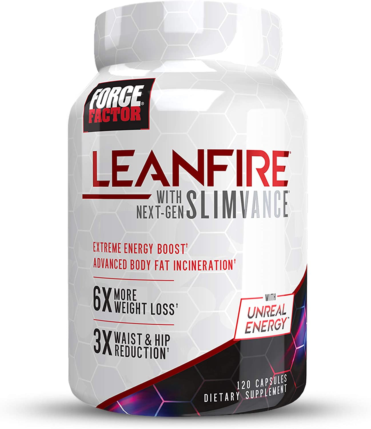 Force Factor LeanFire with Next-Gen Slimvance, Advanced Thermogenic Fat Burner, Extend Elevated Energy & Endurance, Enhance Focus & Mental Clarity, 120 Count