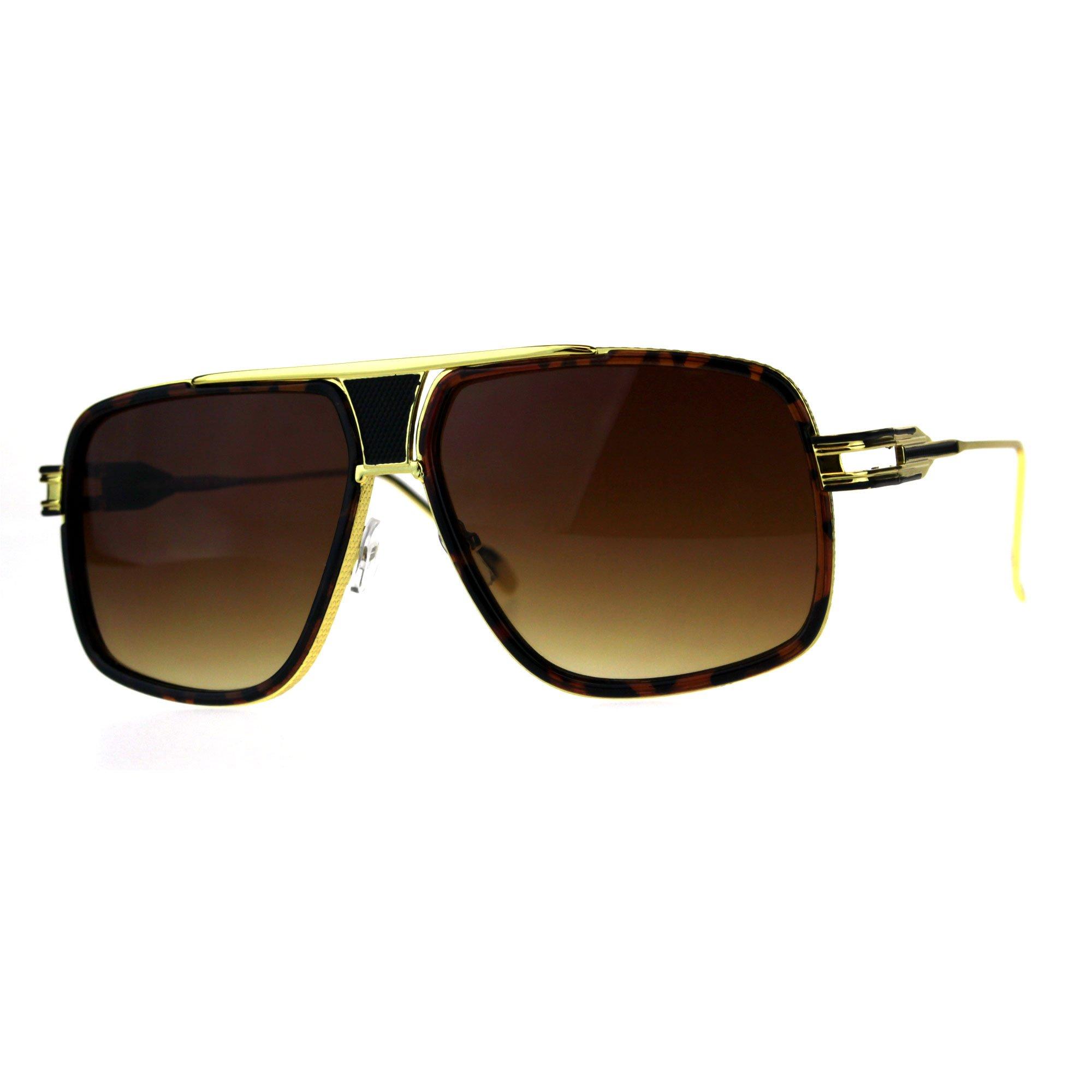 Oversize Luxury Mobster Racer Mens Designer Sunglasses Tortoise Gold Brown by SA106