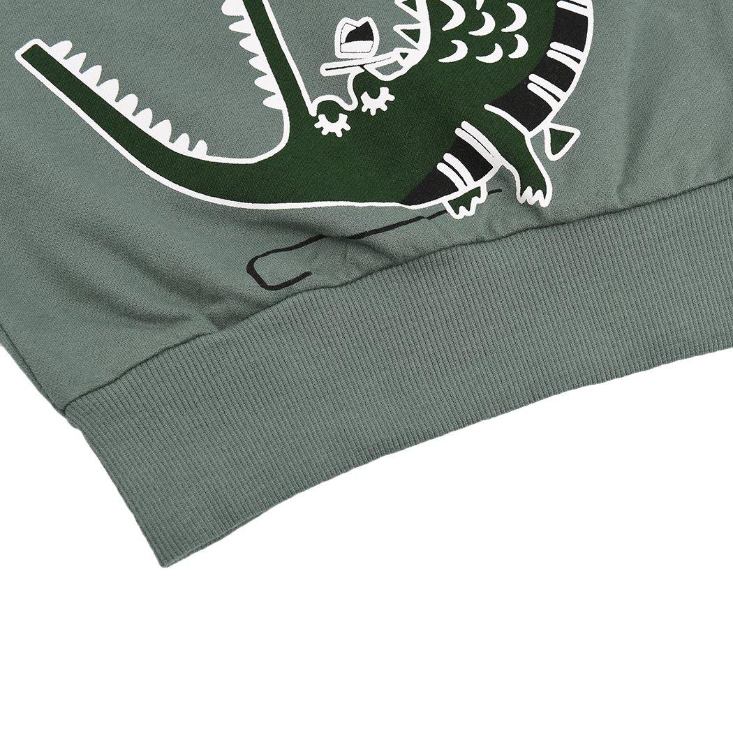 Popshion Boys Dinosaur Sweatshirts Toddler Long Sleeve T-Shirts Pullover Cartoon Tee Sport Tops for Kids 1-7T