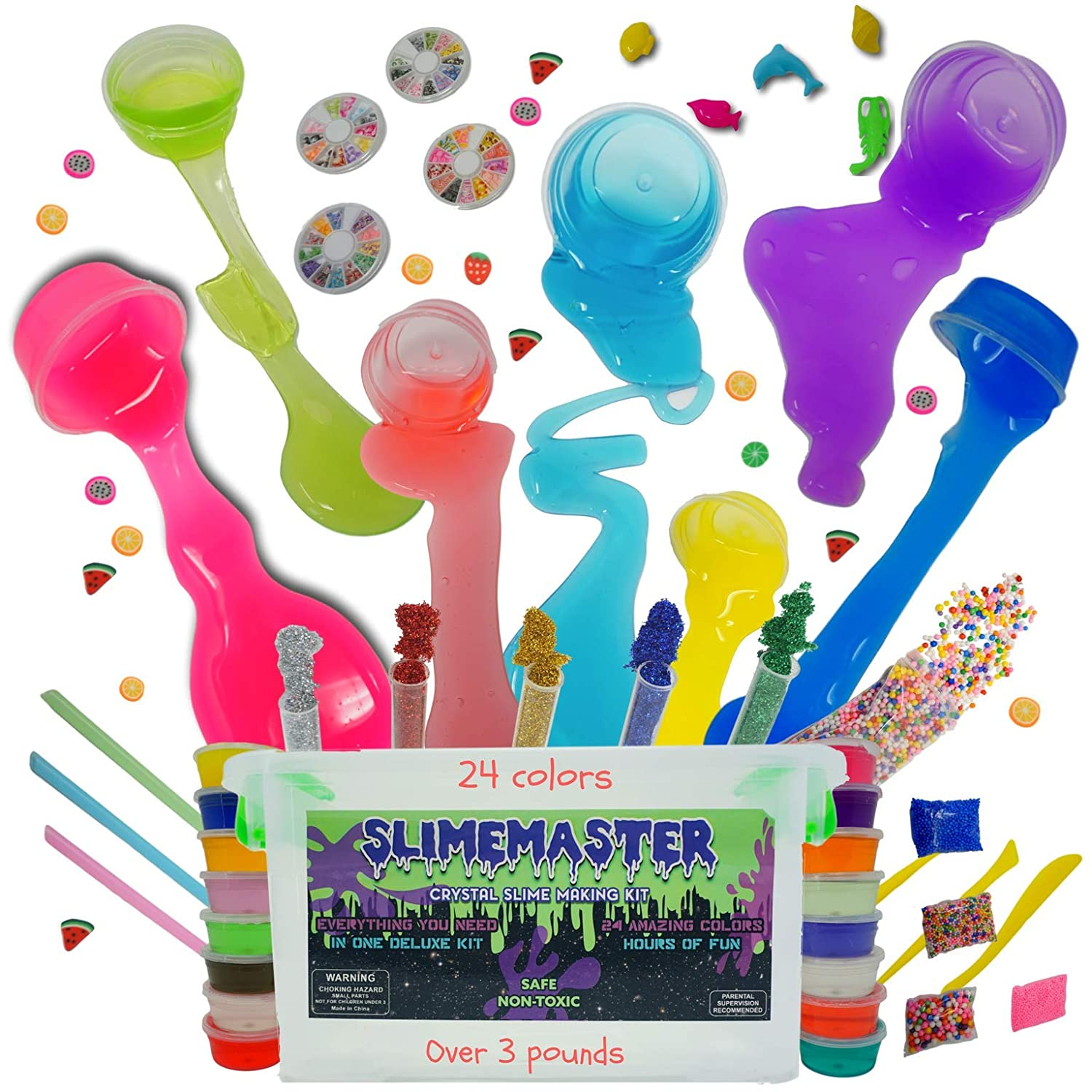 DIY Crystal Slime Making Kit - Super Slime in 24 Colors - Big Kids Craft Kit for Boys & Girls - Supplies Include Foam Balls, Glitter Bottles, Wheel & Fruit Slice Decorations in Clear Container SLIMEMASTER