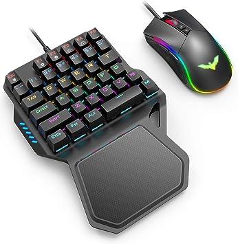havit Teclados mecánico Gaming de una Mano y Ratón,Teclado Gaming con Azul Anti-Efecto Fantasma de 36 Teclas,Ratón Gaming programable con Cable, Negro: Amazon.es: Electrónica