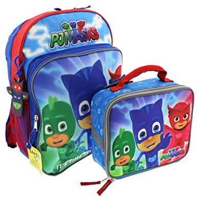PJ Masks 14 inch Backpack and Lunch Box Set (Blue/Red PJ Masks)