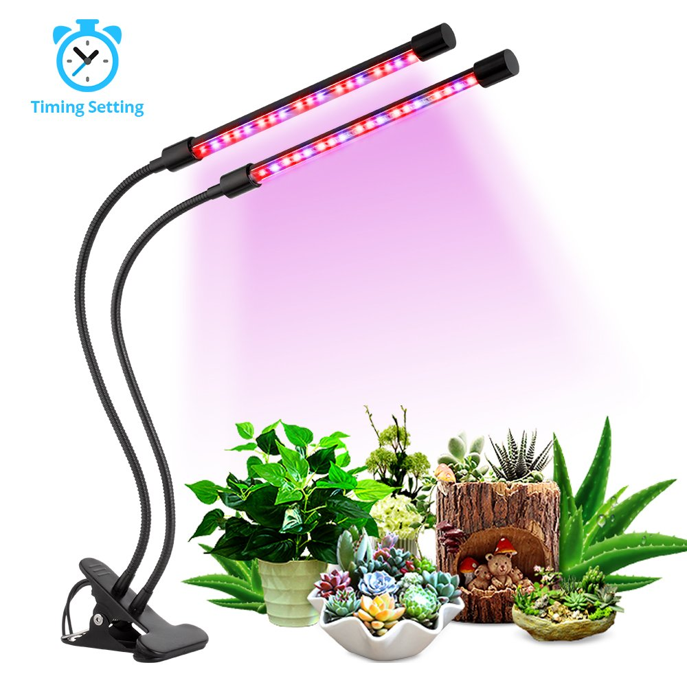 [2018 Upgrade Version] 18W Dual Head Timing Grow Light, 36 LED 5 Dimmable Levels Plant Grow Lights for Indoor Plants with Red/Blue Spectrum, Adjustable Gooseneck, 3/9/12H Timer, 3 Switch Modes