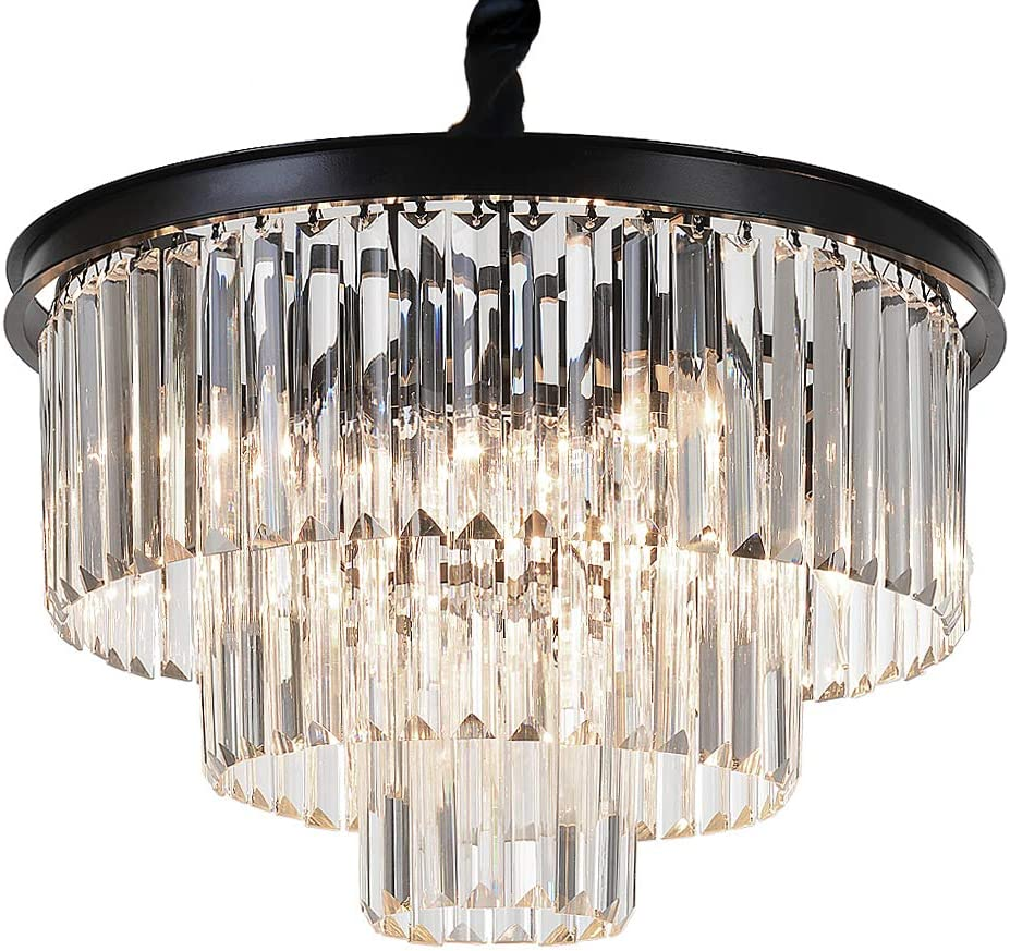 MEEROSEE ME2949-L8MN Modern Island 8 Raindrop Pendant Ceiling Light Fixture Chandelier, 3-Tier for Dining Room Living Room Kitchen Bedroom D19.7 Clear Crystal