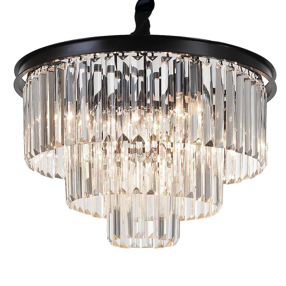 "MEEROSEE Crystal Chandeliers Modern Chandelier Island Lighting 8 Lights Raindrop Pendant Ceiling Light Fixture 3-Tier for Dining Room Living Room Kitchen Bedroom D19.7"" Clear Crystal"